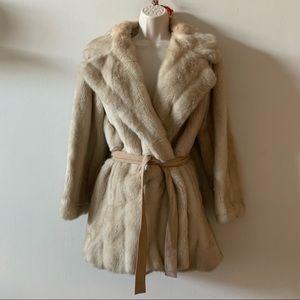 Lilli Ann 1960's Faux Blonde Mink & Suede Coat